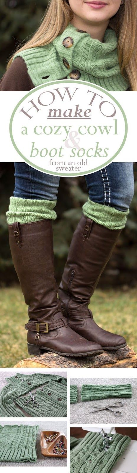 Create a Cozy Cardigan Cowl and Boot Socks From an Old Sweater | Pinning For Living