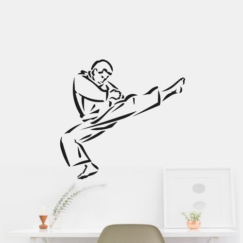 Karate Kick Cartoon Wall Art Car Sticker Decal. OUTDOOR VINYL MATERIAL SPECS: 5 - YEAR WEATHER RESISTANT OUTDOOR VINYLOutdoor Durability: 5 years (3 years gold and silver) when properly applied (vertical exposure (90°± 10°), unprinted film). Warranty coverage is defined as no appreciable deterioration in the product. Cracking, crazing, blistering or loss of adhesion constitutes a breach of warranty if it occurs during the stated life of the product. Description Exclusively from GreenStar....