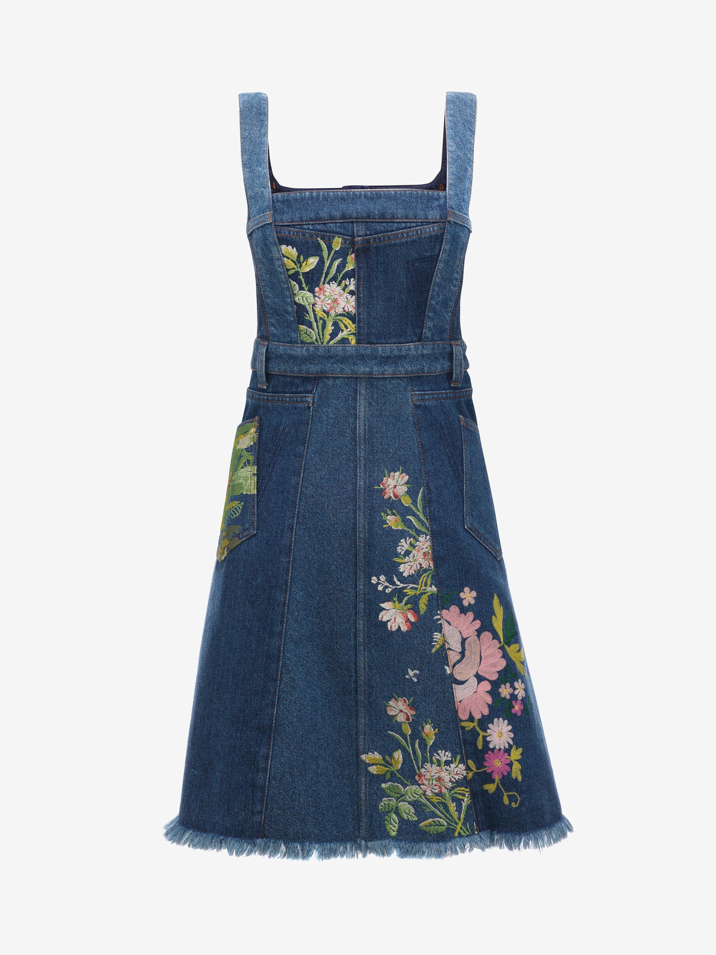 d72d09998a7 ALEXANDER MCQUEEN Floral Embroidered Denim Dress.  alexandermcqueen  cloth