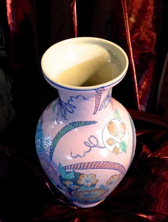 Fabulous Asian Porcelain Vintage Floral Vase by CoCoBlueTreasures