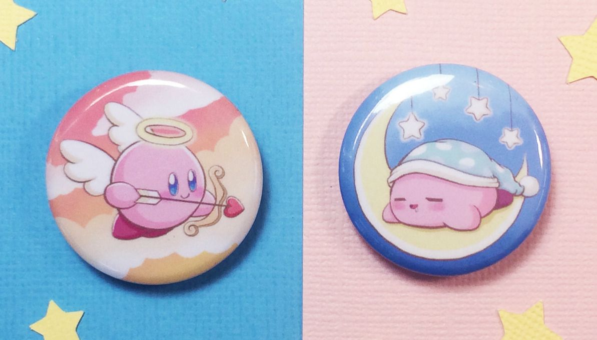 Kirby Buttons made by CritterCatCreations -