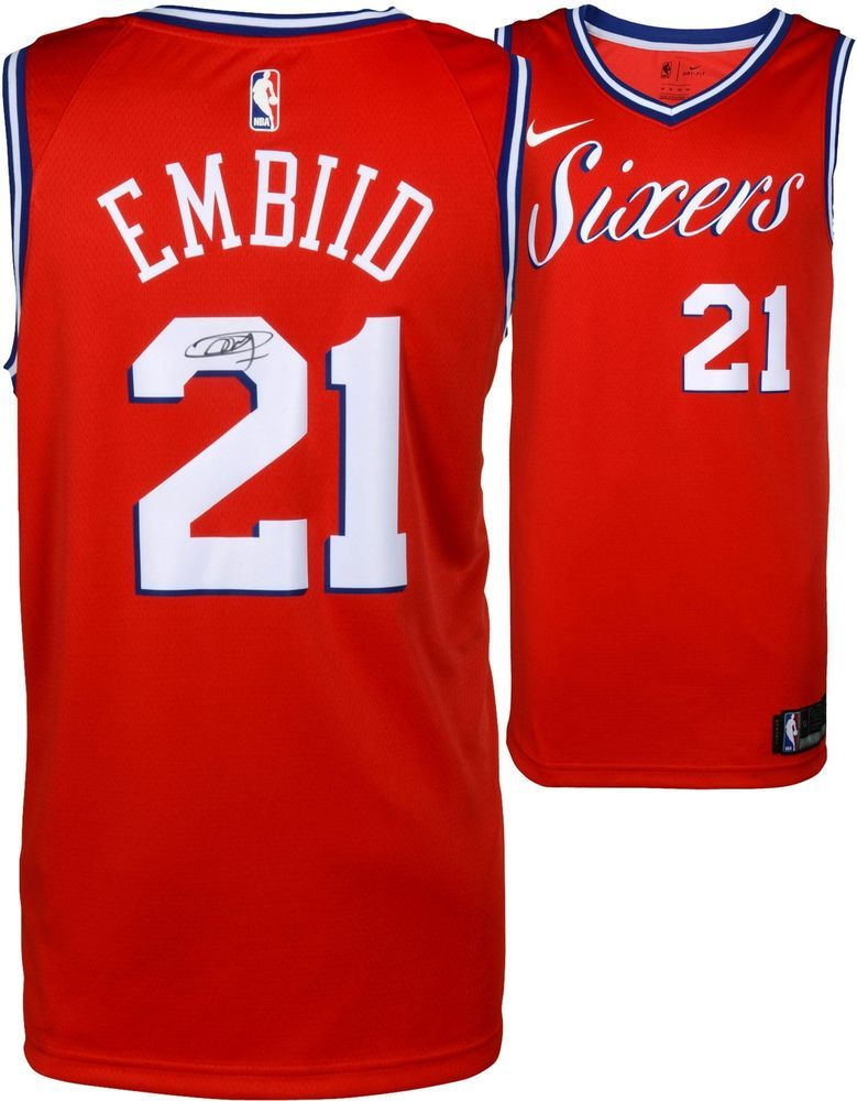 half off 96d90 3cae2 Joel Embiid 76ers Autographed Red Statement Nike Swingman ...