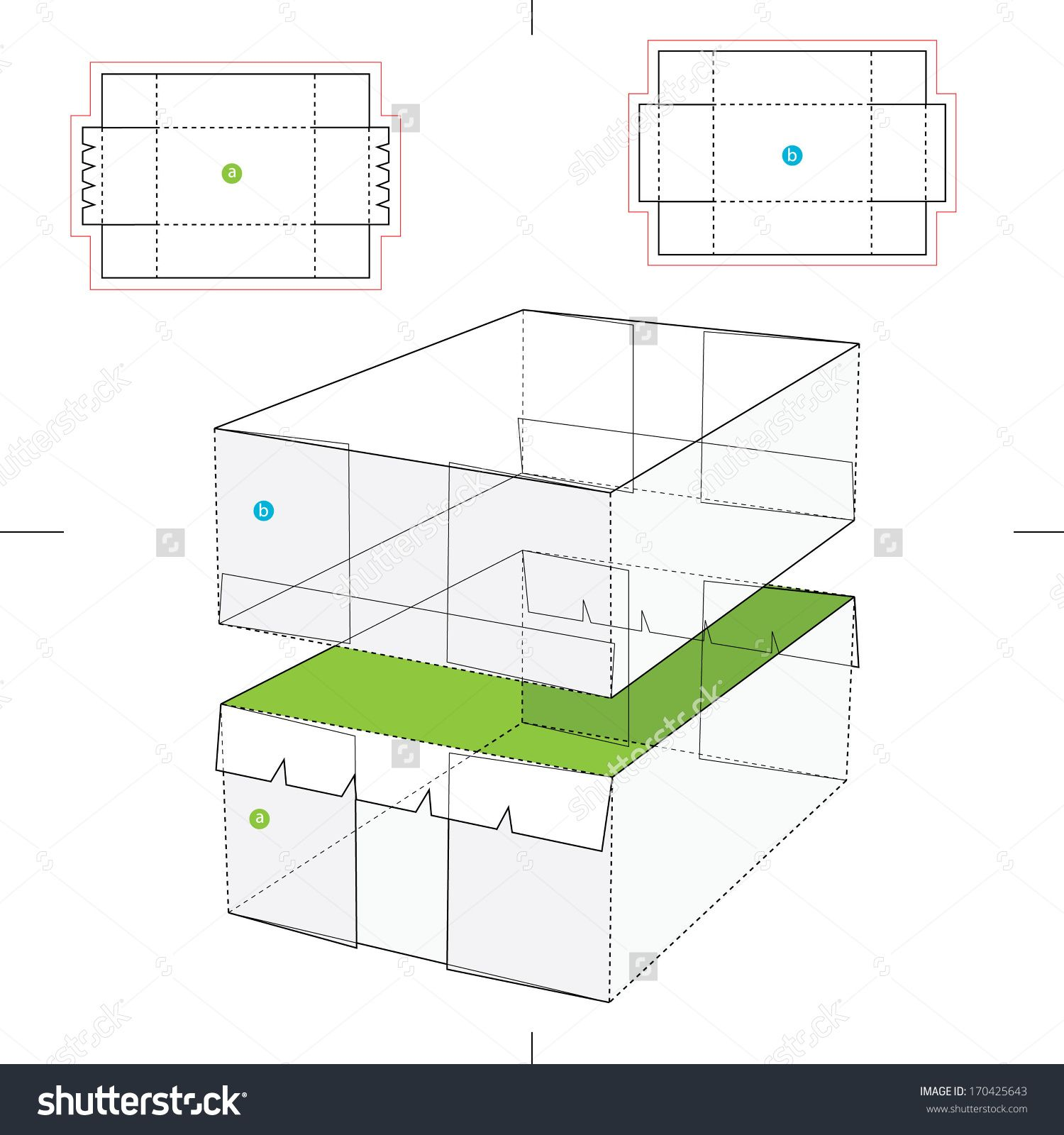Tray Box And Lid With Blueprint Layout Stock Vector Illustration 170425643 : Shutterstock