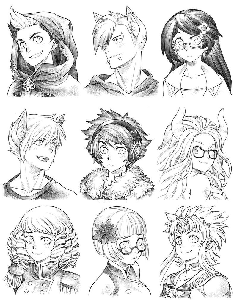 160704 Headshot Commissions Sketch Dump 22 By Runshin Character Art Concept Art Characters Manga Drawing
