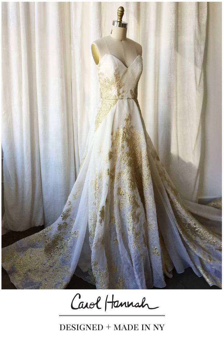 Gold white wedding dress  Gold and white wedding gown with texture and floral detail