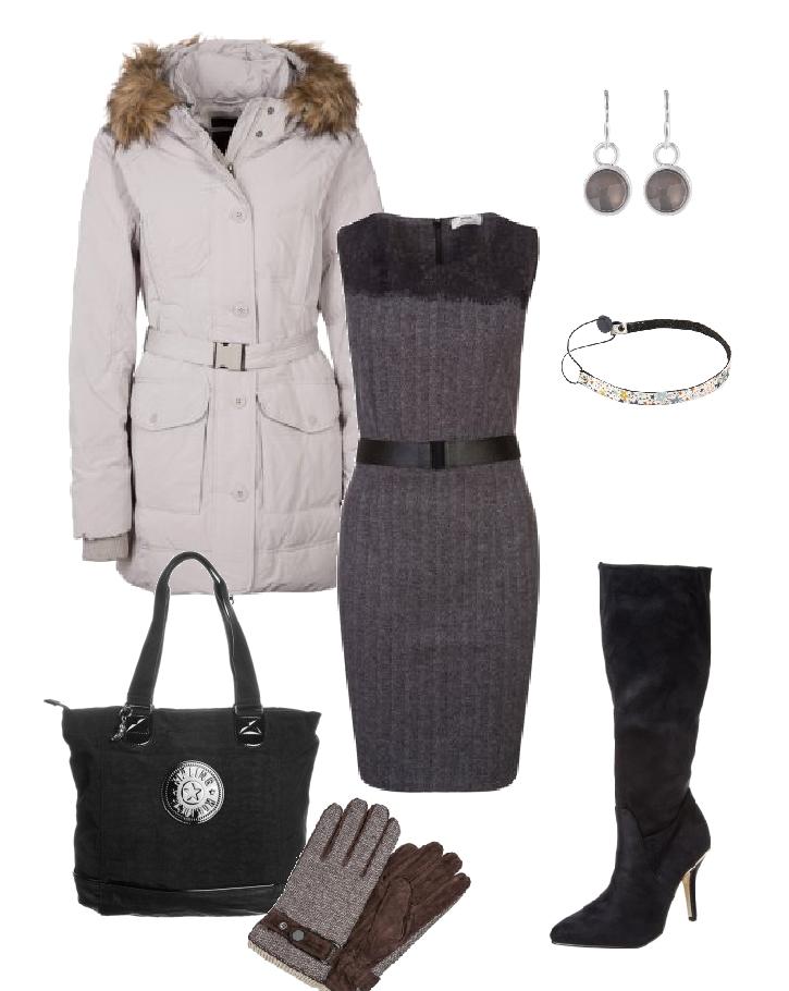 Look elegante para el trabajo http://stylabel.com/style/elegant-day/346 Incluye vestido executive, abrigo acolchado, bota de caña alta con tacón, guantes, bolso shopper, diadema y pendientes a juego.