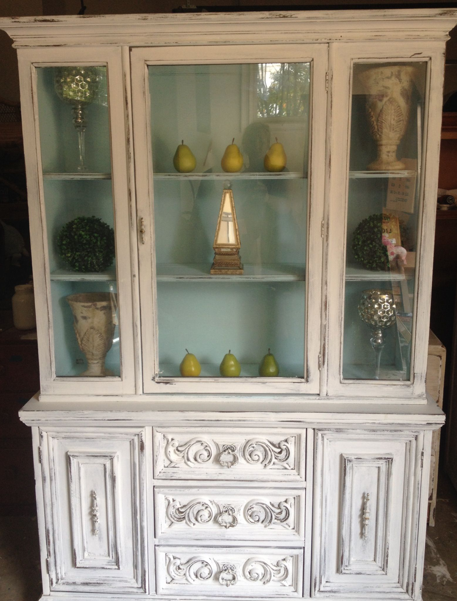 China cabinet chalk paint makeover | annie sloan | Pinterest ...