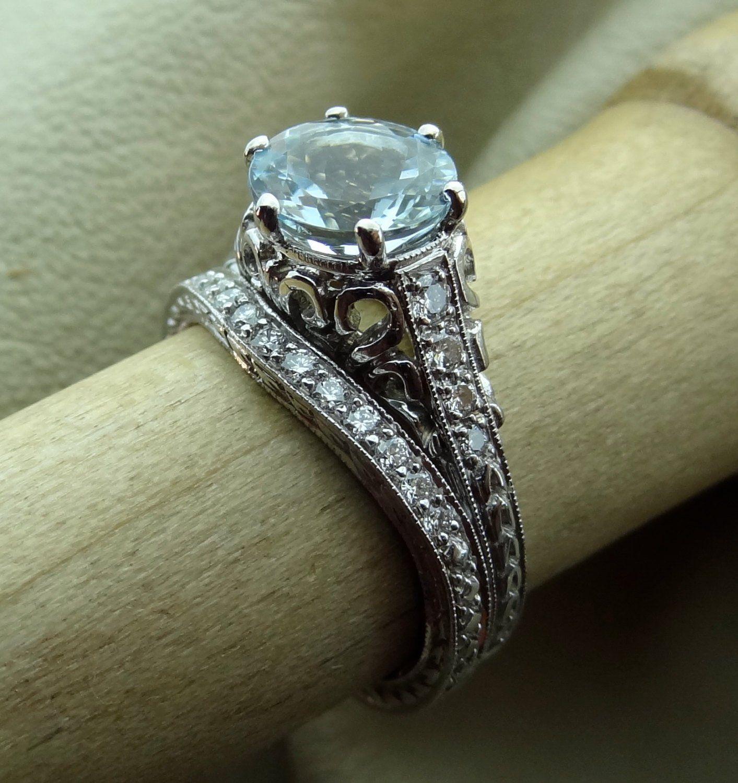 Curved platinum diamond wedding band art deco vintage