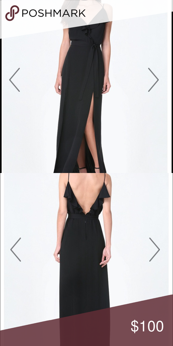 6d02e0af4a Bebe Black Double Slit Ruffle Maxi Dress Bebe black maxi dress size 4. Slits  are high and very sexy! Dress worn once for a wedding bebe Dresses Maxi