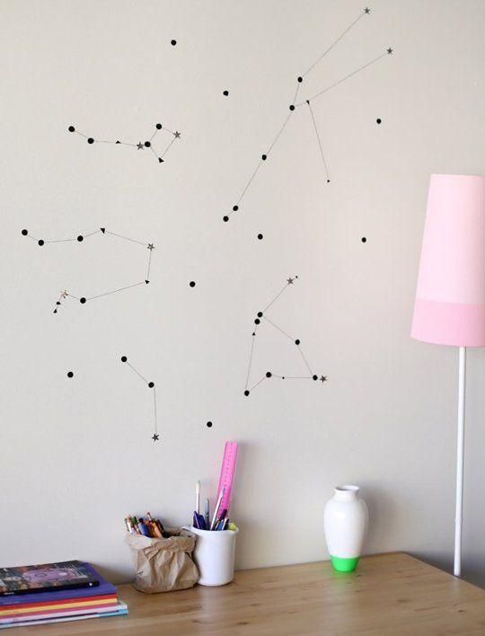 Astronomy 101 Simple Diy Wall Constellations Diy Wall Art Room Diy Diy Wall