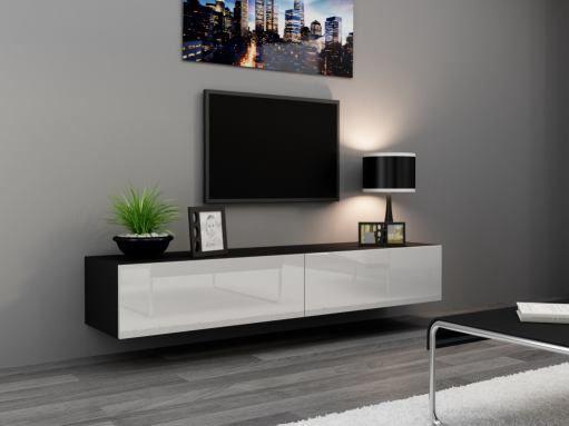 Tv Kast Zwart Wit.Hoogglans Zwart Wit Zwevend Tv Meubel Bestaande Uit Twee Kleppen