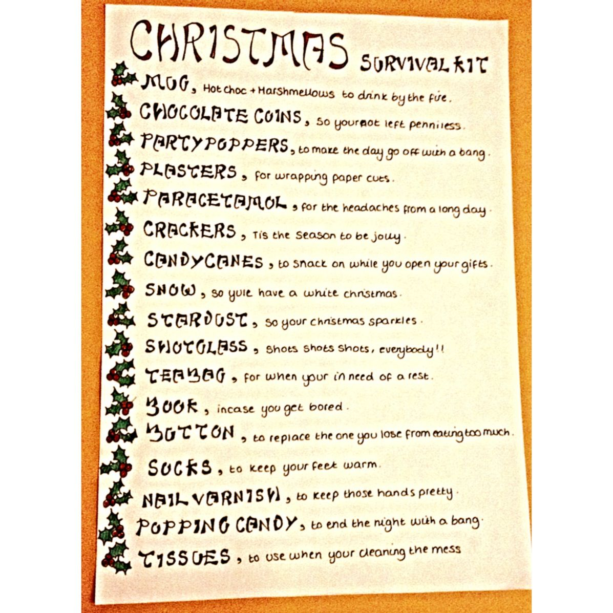 Christmas Survival Kit A Cheap But Creative T For The