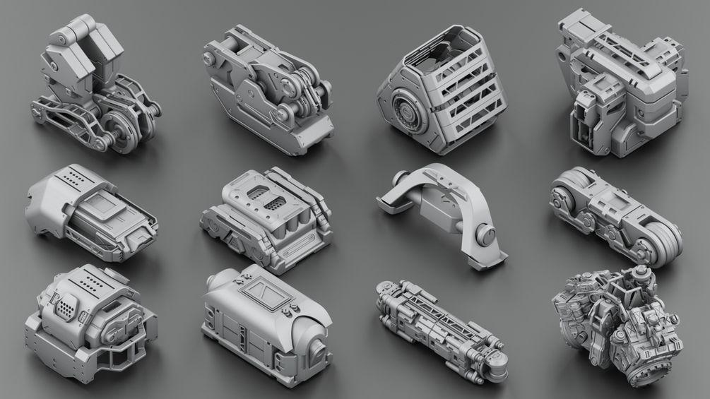Download 300 free kitbash 3D Model part Vol 2 - 3 | Modeling