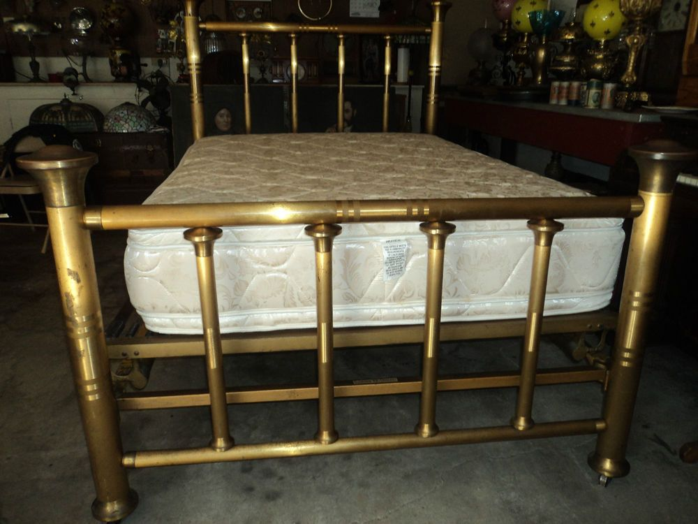 Antique Brass Bed Ca 1911 Antiques Furniture Beds Bedroom Sets Ebay Brass Bed White Bed Frame Patio Furniture Sets
