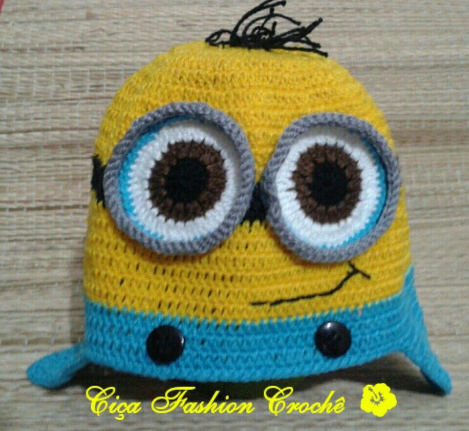 Touca Minions na lojinha tem www.elo7.com.br/cicafashioncroche. E pode ser feita na versão para meninas