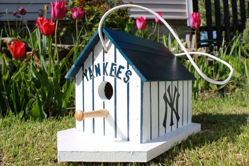 New York Yankees Birdhouse Etsy Bird Houses Handmade Birdhouses Outdoor Decor