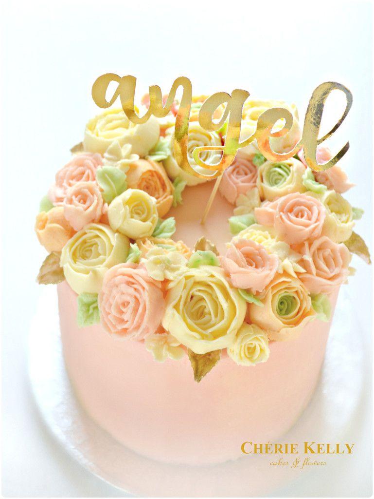 Pink Korean Buttercream Roses Flowers Cake with Gold Angel Cake ...