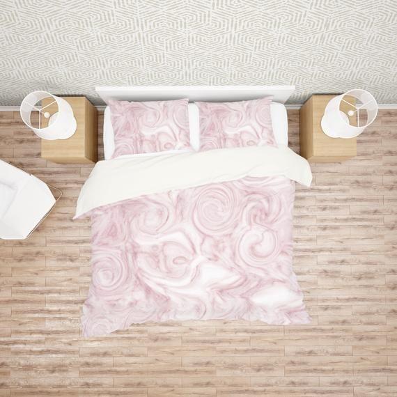 Rose Pink Agate Swirl Duvet Cover Modern Girl Bedding Comforter Set Twin Twin Xl Queen King Light Pink Duvet Cover Pink Duvet Cover Comforter Sets