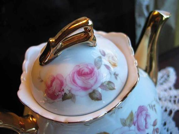 Vintage Lefton Rose Tea Pot Teapot Set  Sugar Cream Salt Pepper  Item 1744 #teapotset