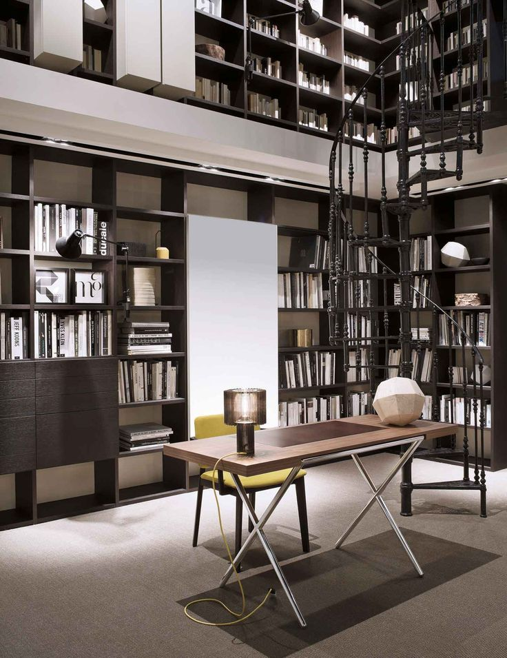 Home Library Furniture: Double Height Ceiling W/ Catwalk In Modern Home Library