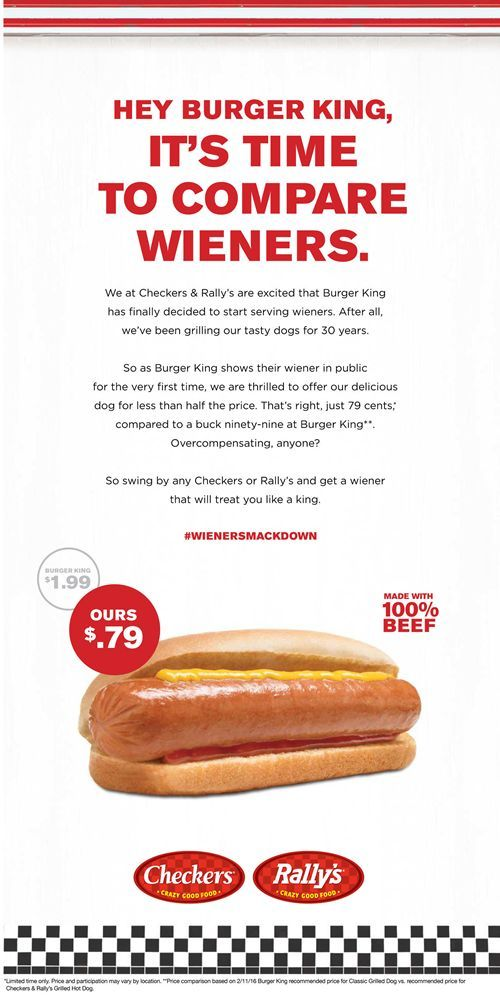 checkers rally s ignites wiener war with full page ad in usa today