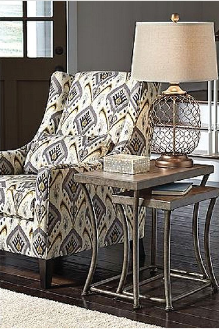 Style Your Home With This Beautiful Ashley Furniture HomeStore Table,  Chair, And Lamp! Industrial Metals Combine With Soft Patterns And Textiles  To Create A ...