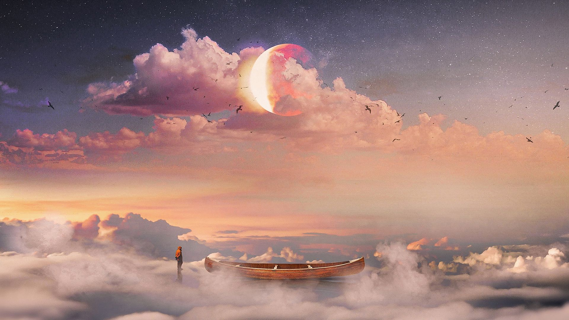Download Wallpaper 1920x1080 Surrealism Boat Clouds Lonely Man St Surrealism Photography Aesthetic Desktop Wallpaper Computer Wallpaper Desktop Wallpapers