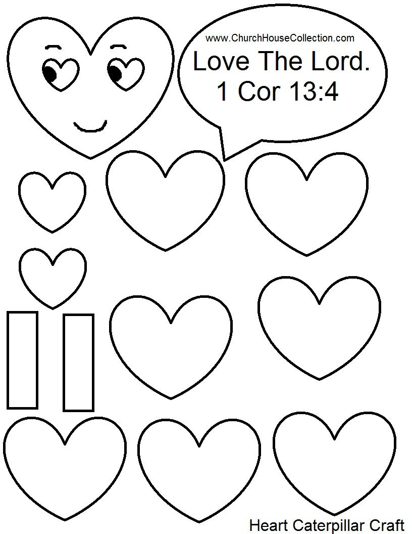 heart caterpillar valentines day craft for sunday school kids love the lord 1 cor 13 - Valentine Sunday School Lesson