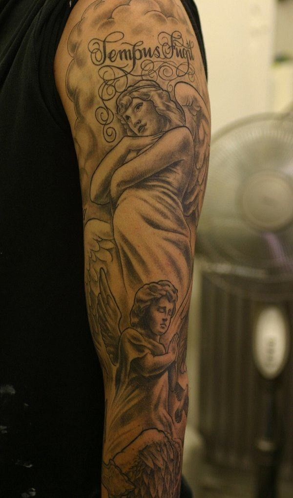 Angel tattoo sleeve template Angel tattoo sleeve template Angel ...