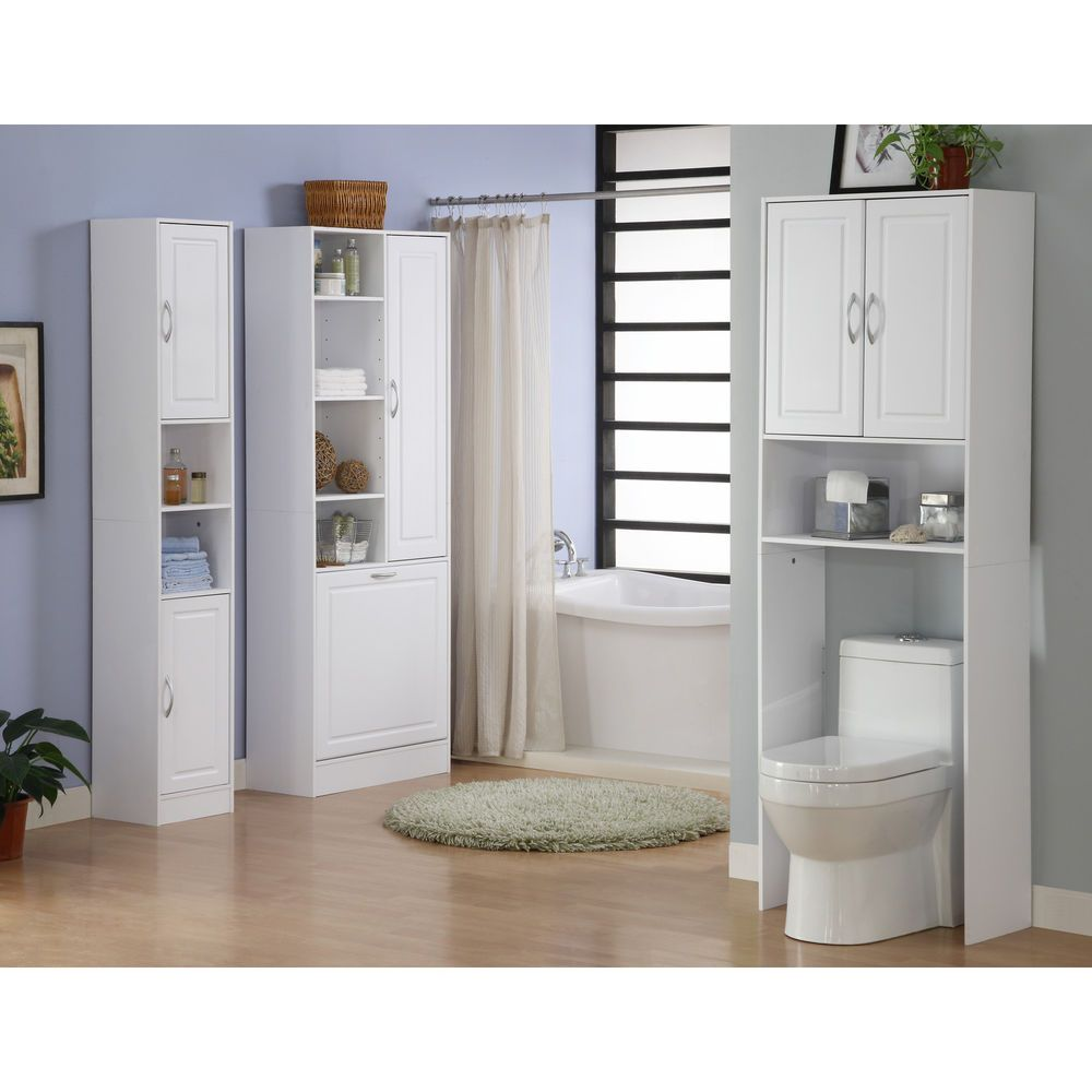 Bathroom Organization Over The Toilet Finish White Storage Cabinet ...