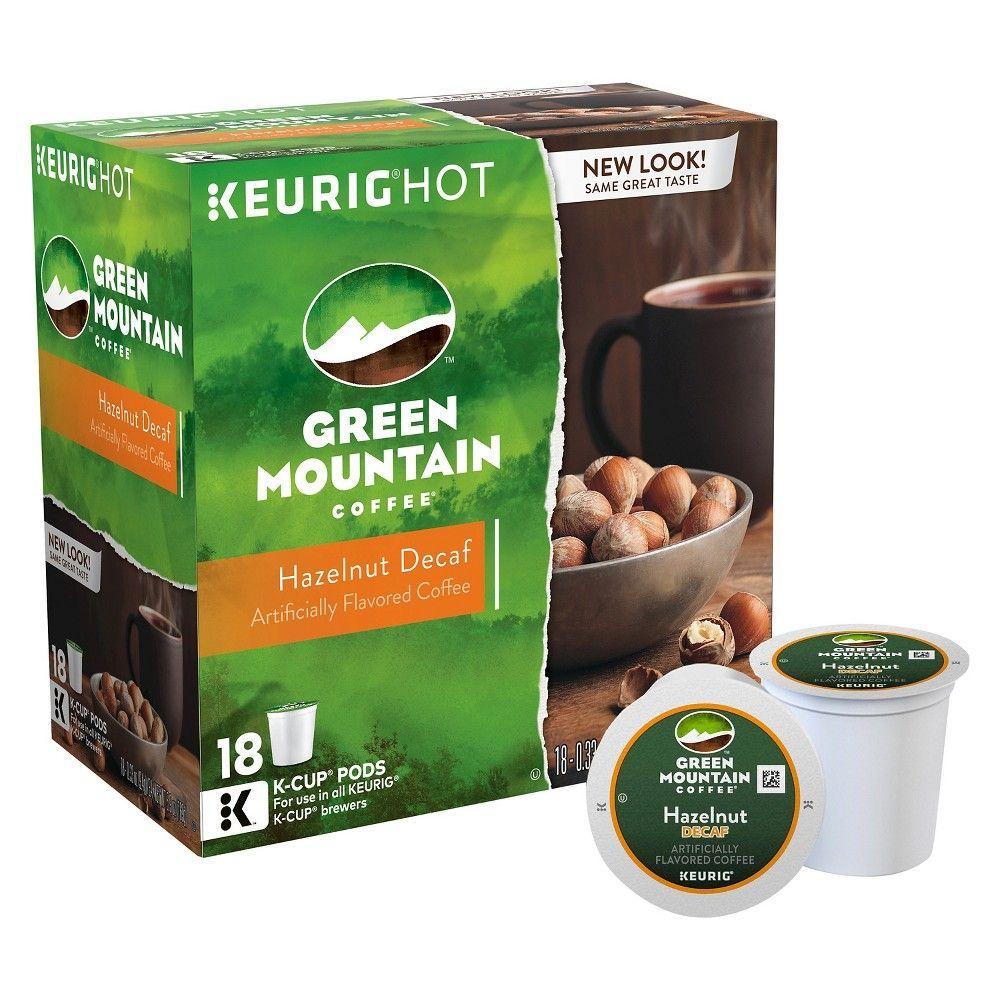 Green mountain hazelnut medium roast coffee decaf