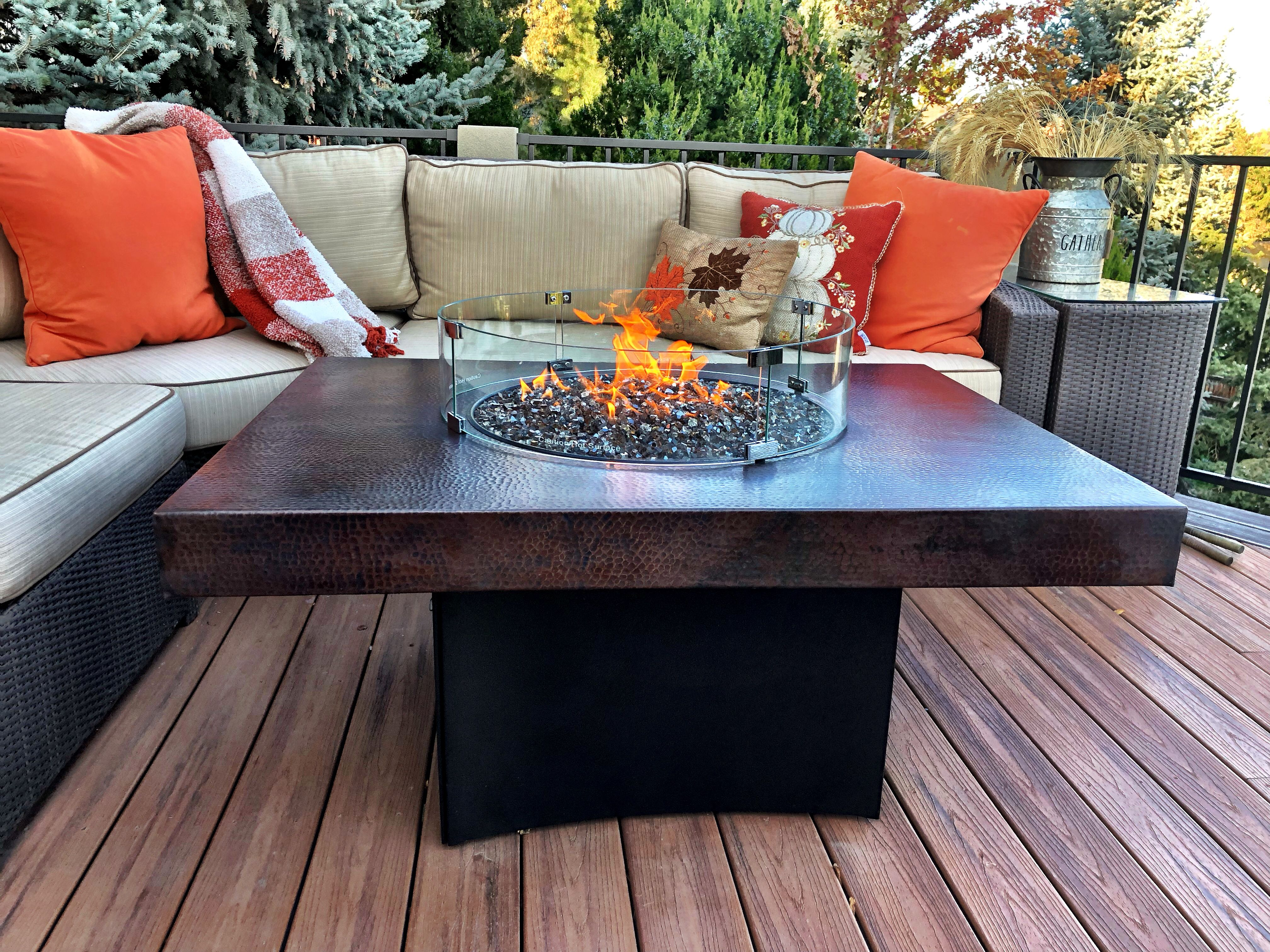 Oriflamme Rectangle Gas Fire Pit Table Hammered Copper Gas