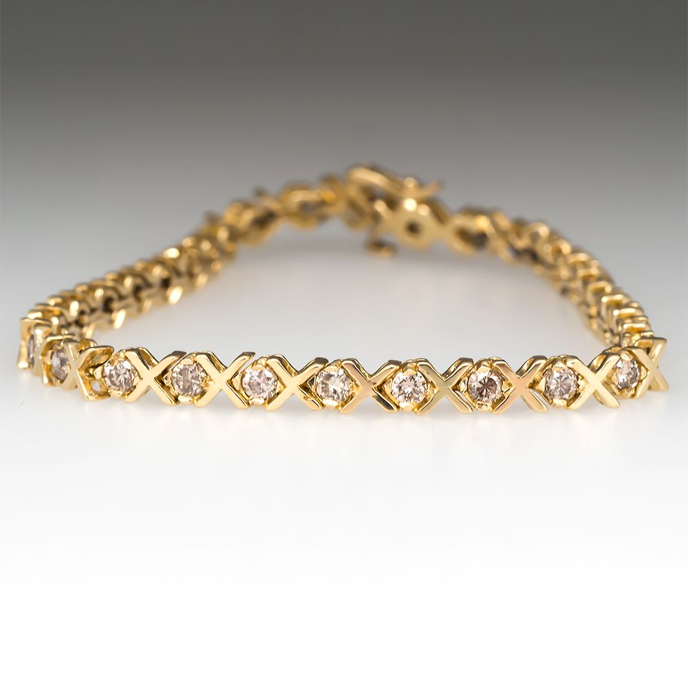Estate 3 Carat Champagne Diamond Tennis Bracelet 14k Gold Jewelry Bracelets Gold Bracelets Gold Diamond Gold Bracelet For Women