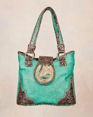 Beautiful Teal Handbag with Horse Ornament