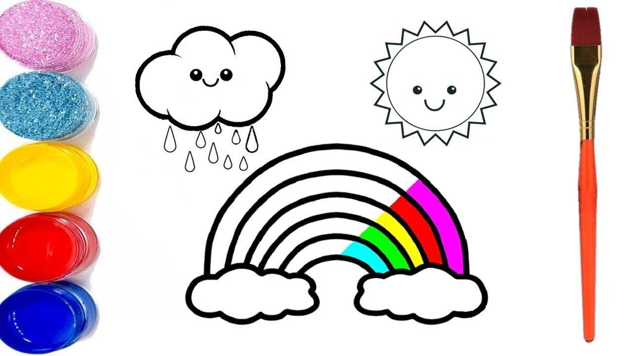 تعلم رسم قوس قزح شمس و غيم للاطفال الصغار تعليم الرسم للاطفال Sun Drawing Drawings Mario Characters