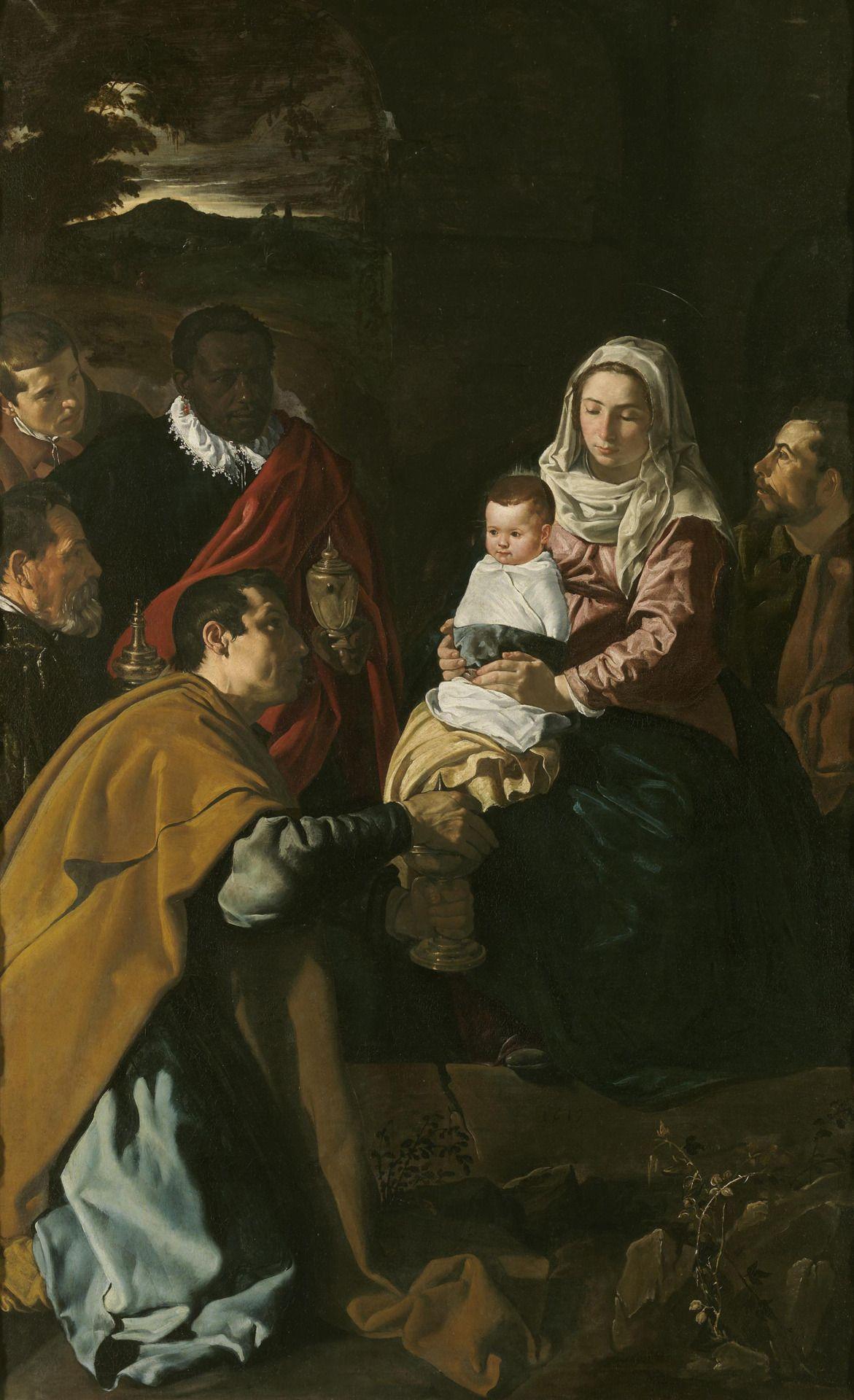 Diego Velázquez Adoración de los Magos (1619, Museo del Prado, Madrid,  España) La pintura es un retrato de familia. Velázquez se puede identificar  como ...