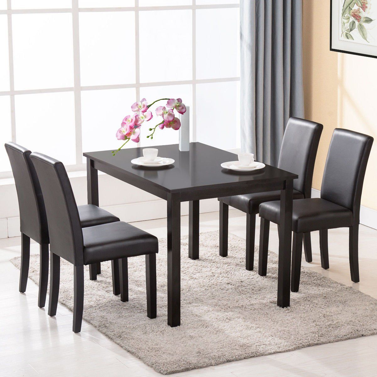 Set Of 4 Dining Chair Kitchen Dinette Room Black Leather Backrest Continue To The Product At Leather Dining Room Chairs Dining Chairs High Back Dining Chairs
