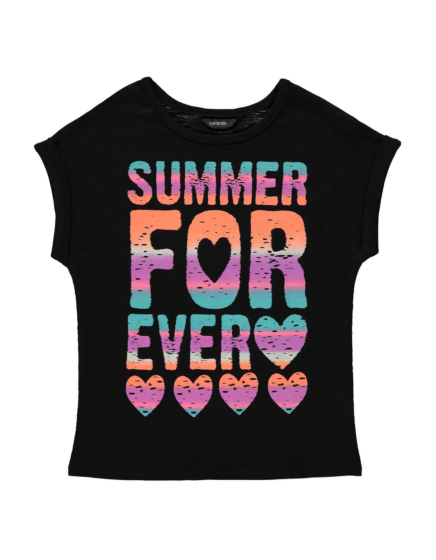 Black t shirt asda - Summer Forever T Shirt Girls George At Asda