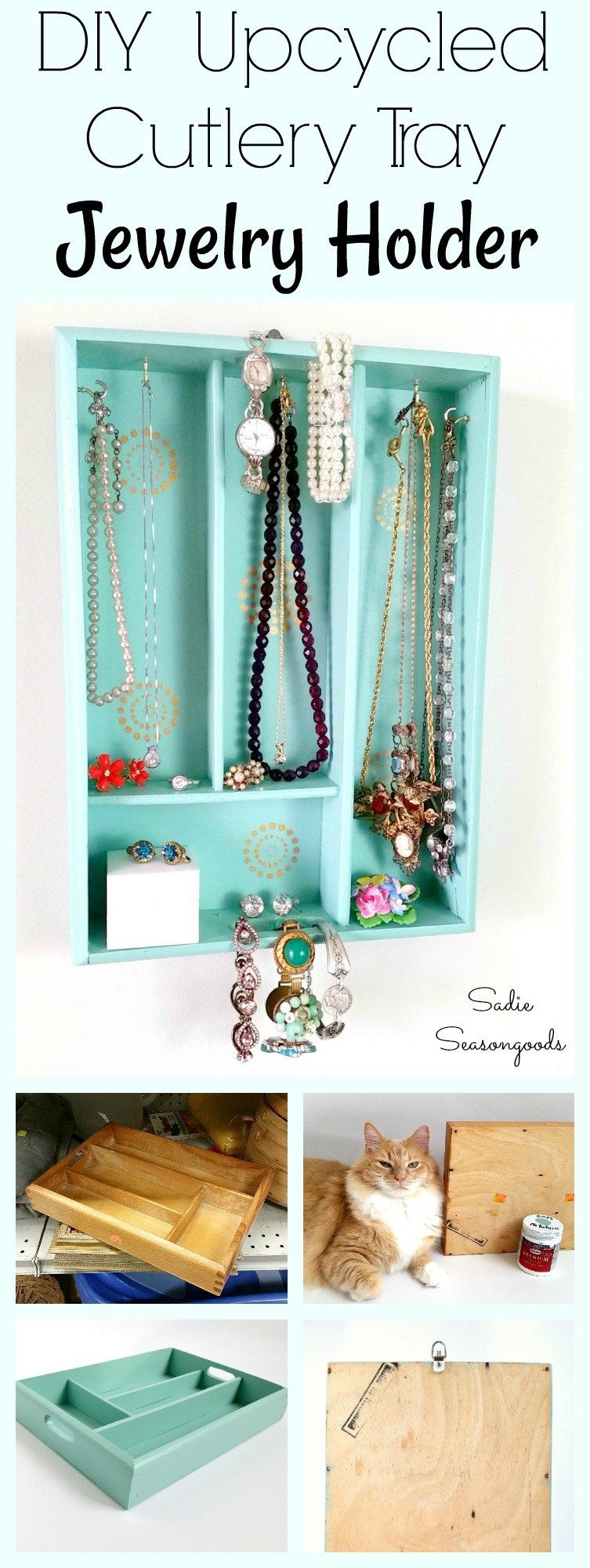 DIY Jewelry Organizer Holder with a Repurposed Silverware Tray