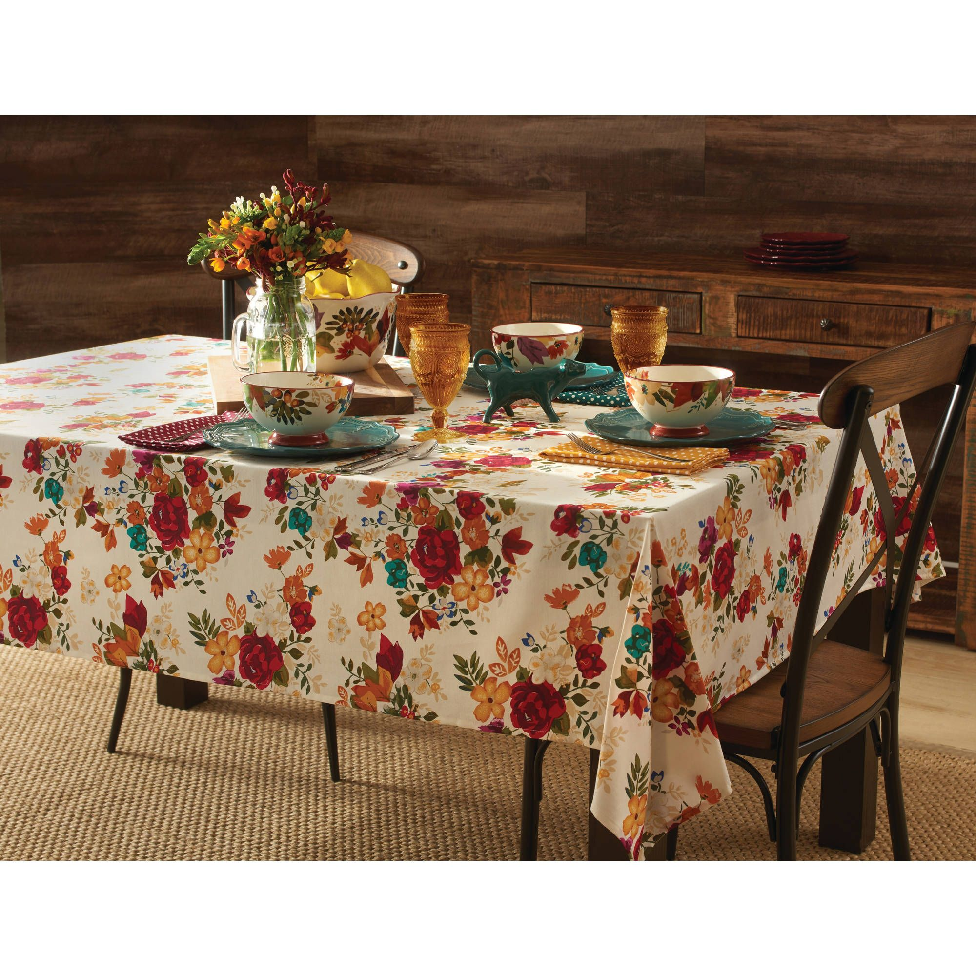 pioneer woman timeless floral tablecloth walmart