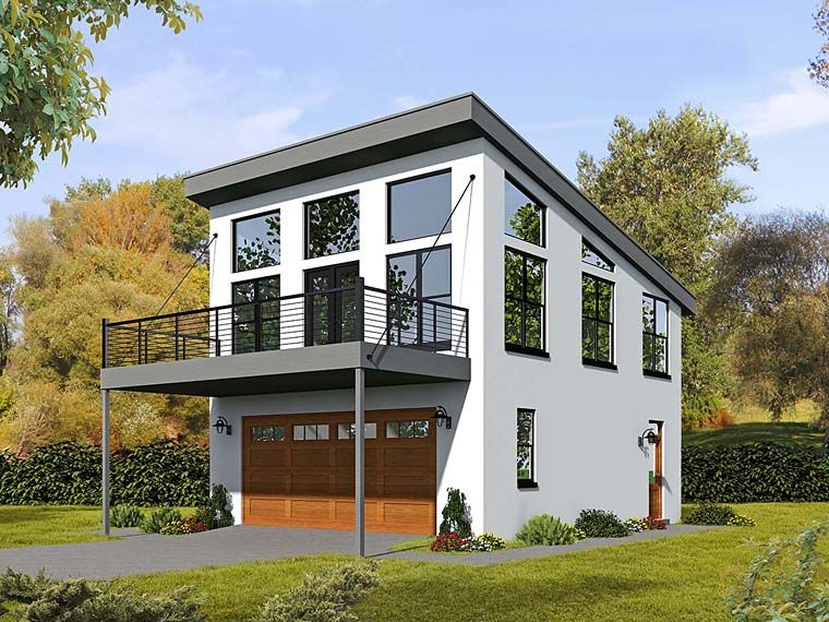 Modern Style Garage Living Plan with 1 Bed 2 Bath 2 Car Garage