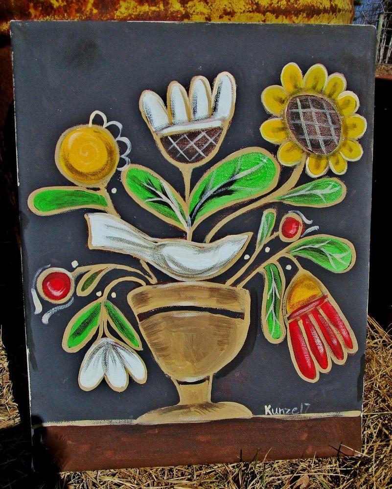 *^*PRIMITIVE*^* HP FOLK ART PRIM fraktur still life farmhouse STRETCHED CANVAS #NaivePrimitive