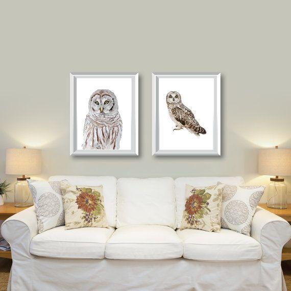 Vintage Owl Art Prints Set Of 2 Owl Decor Owl Prints Owl Etsy Living Room Art Owl Wall Art Vintage Owl Art