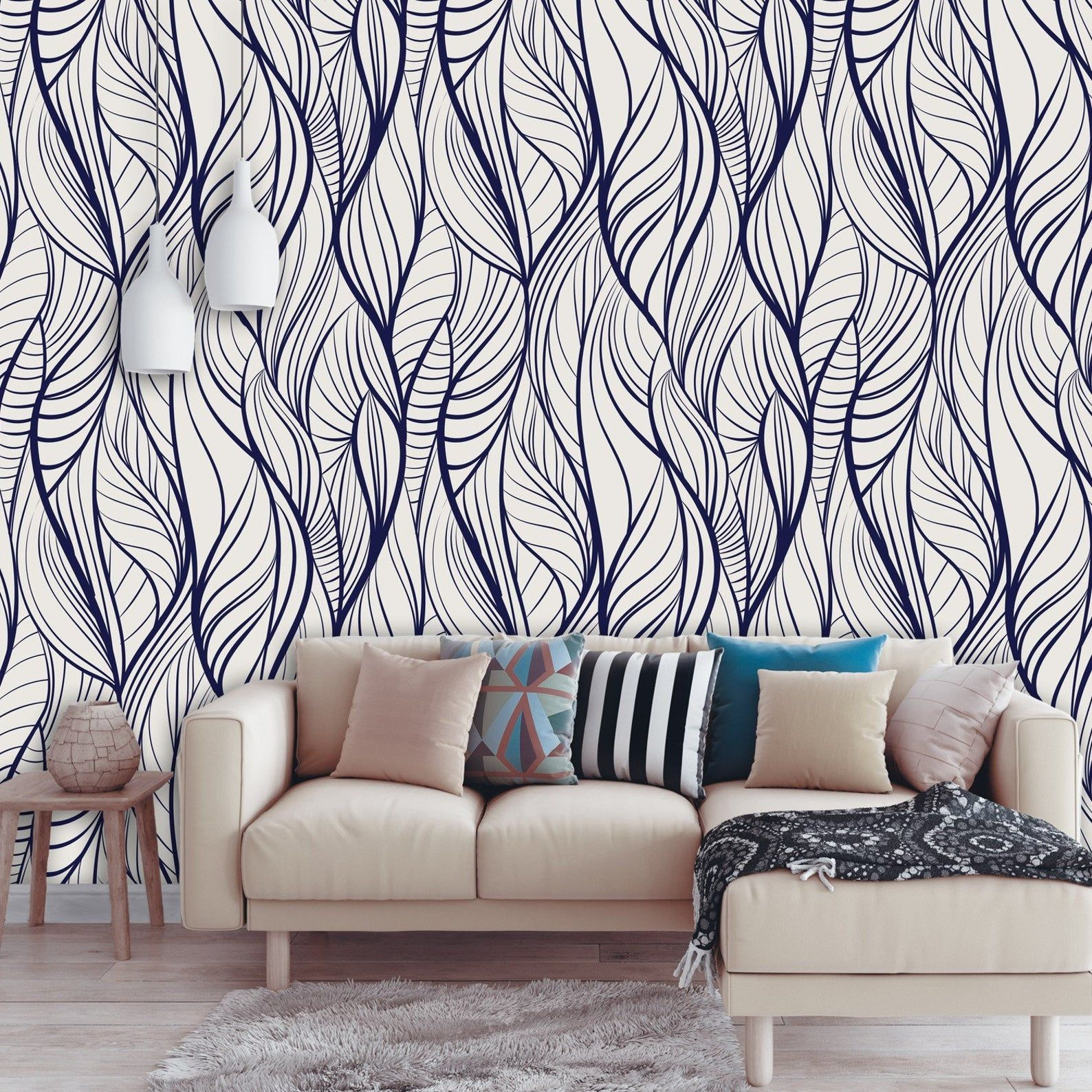 Abstract Removable Wallpaper Leaf Peel And Stick Wall Paper Etsy Dark Blue Wallpaper Blue Wallpapers Removable Wallpaper