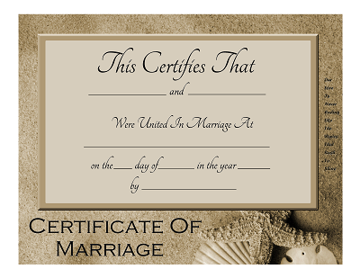 Marriage Certificate With A Beach Theme  New Version Posted Using