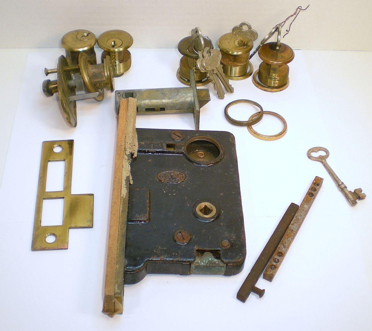 Corbin mortise 1920s vintage door hardware locks keys Lot unused ...