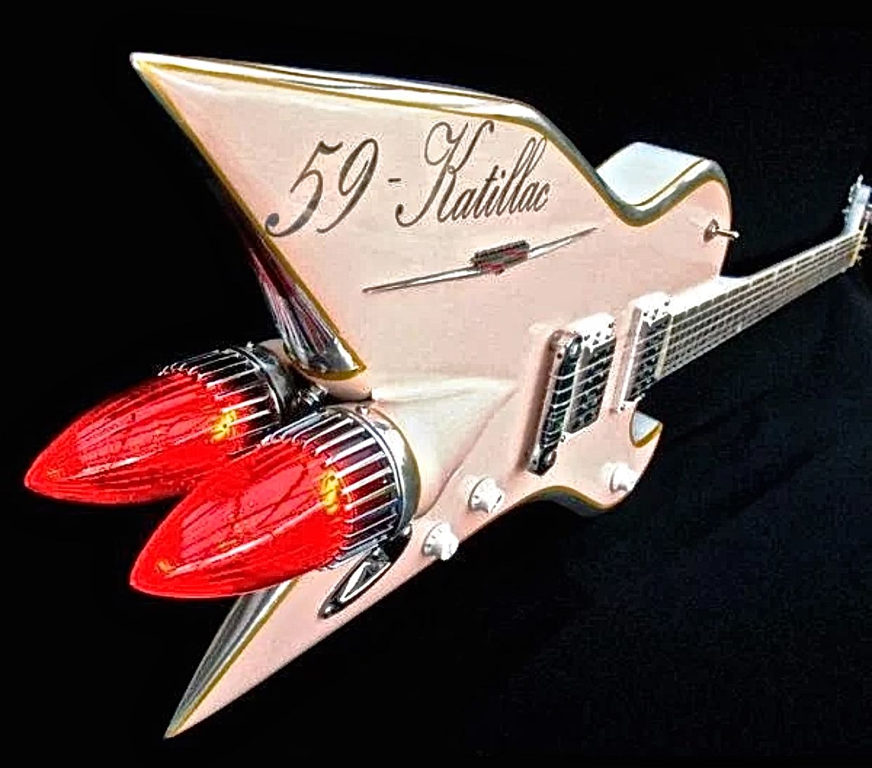 Electric guitar made with vintage car parts custom