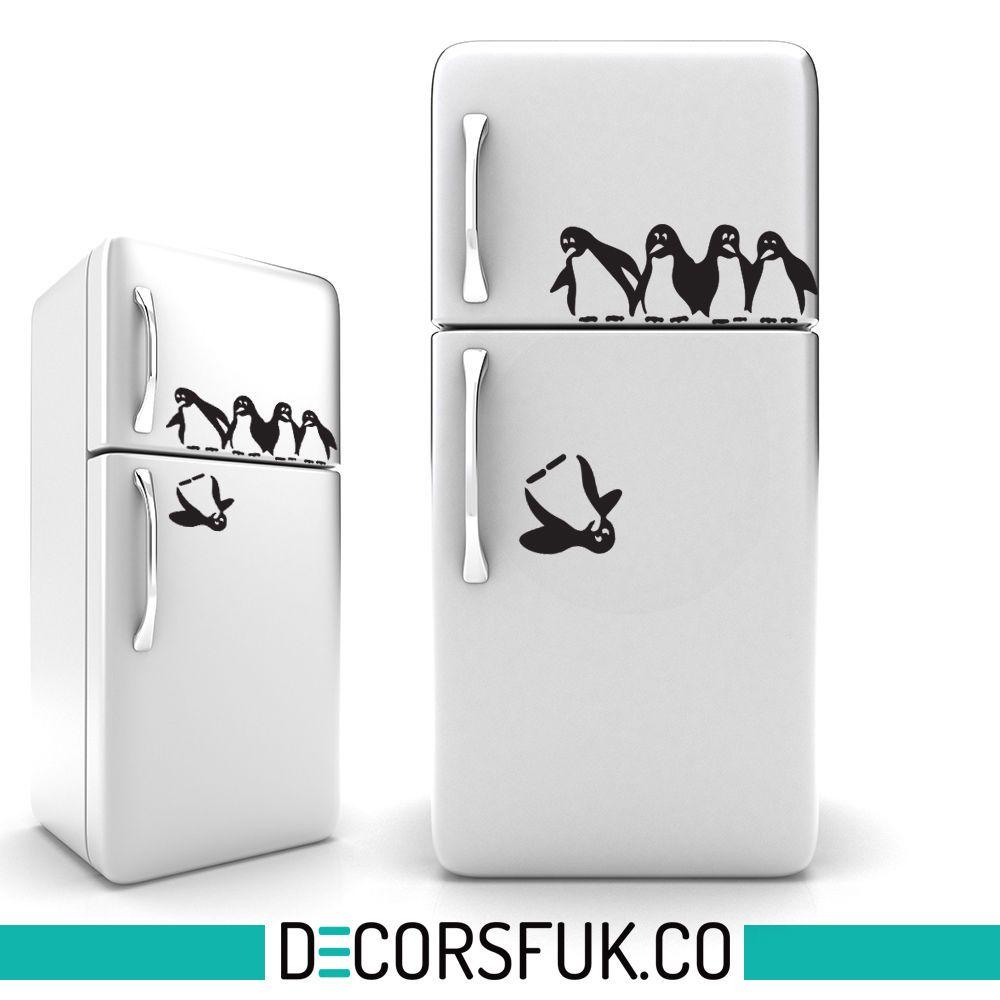Penguins iman pegatinas vinilo negro a4 cocina divertido sticker home decor all i like - Pegatinas para cocina ...