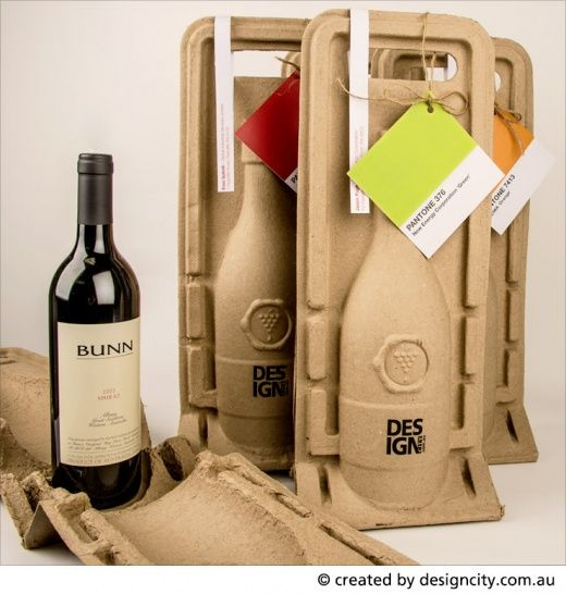 Sustainable wine holders with bottle of wine and Pantone gift ...