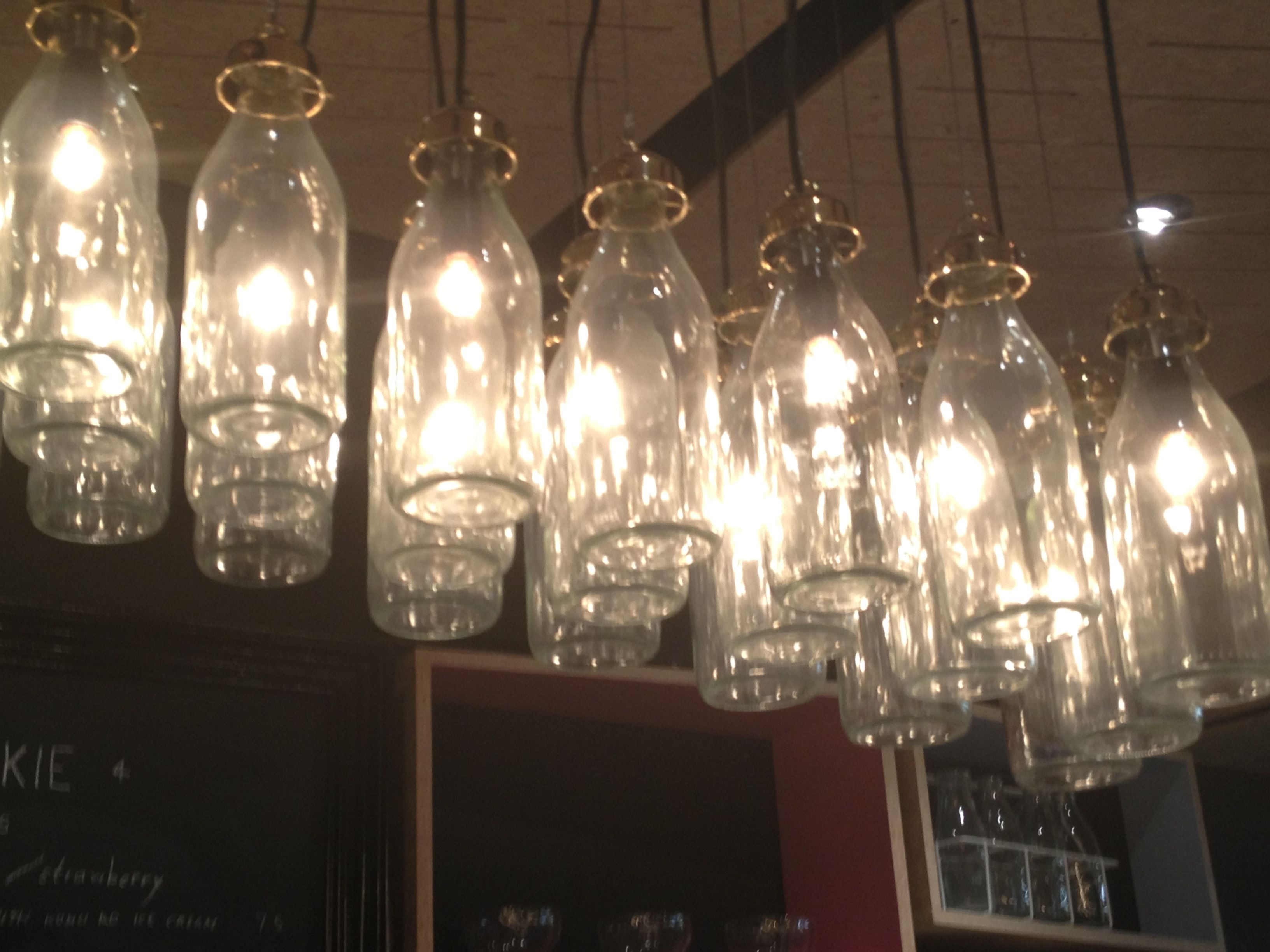 Diy Milk Bottle Lights As Seen In A Cookie Bar In Auckland New
